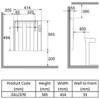 Reina Arlec Electric Panel Radiator, 565mm High x 414mm Wide, 700 Watts