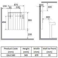 Reina Arlec Electric Panel Radiator, 565mm High x 870mm Wide, 1800 Watts