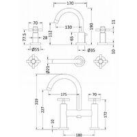 Hudson Reed Tec Crosshead 3 Hole Basin Mixer Tap and Bath Filler Tap, Chrome