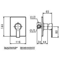 JTP Italia 150 Concealed Manual Shower Valve, Chrome