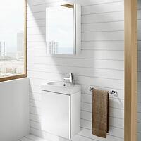 Roca Mini Unik 1-Door Vanity Unit with Basin 450mm Wide Gloss White - 1 Tap Hole