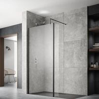 Hudson Reed Wet Room Screen with Black Support Bar 1000mm Wide - 8mm Glass