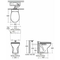 Armitage Shanks Sandringham 21 Back to Wall Toilet WC 530mm Projection Hardwearing Seat