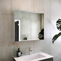 RAK Gemini 2-Door Mirrored Bathroom Cabinet 600mm H x 700mm W - Stainless Steel