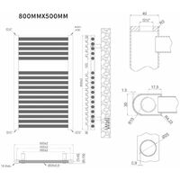 Heatwave Pisa Straight Heated Towel Rail - 800mm H x 500mm W - Chrome