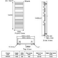 Heatwave Pisa Straight Heated Towel Rail - 1400mm H x 500mm W - Chrome