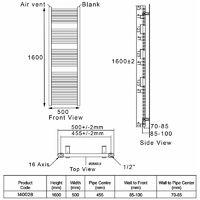 Heatwave Pisa Straight Heated Towel Rail - 1600mm H x 500mm W - Chrome