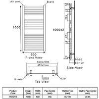 Heatwave Pisa Curved Heated Towel Rail - 1000mm H x 500mm W - Chrome