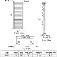 Heatwave Pisa Curved Heated Towel Rail - 1400mm H x 500mm W - Chrome