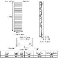 Heatwave Pisa Curved Heated Towel Rail - 1600mm H x 500mm W - Chrome