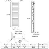 Heatwave Pisa Curved Heated Towel Rail - 1800mm H x 500mm W - White
