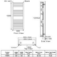 Heatwave Pisa Straight Heated Towel Rail - 1200mm H x 500mm W - Black