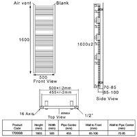 Heatwave Pisa Straight Heated Towel Rail - 1600mm H x 500mm W - Black