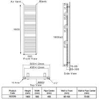 Heatwave Pisa Straight Heated Towel Rail - 1800mm H x 500mm W - White
