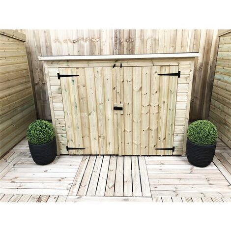 7 x 3 Pressure Treated Tongue And Groove Bike Store With Double Doors