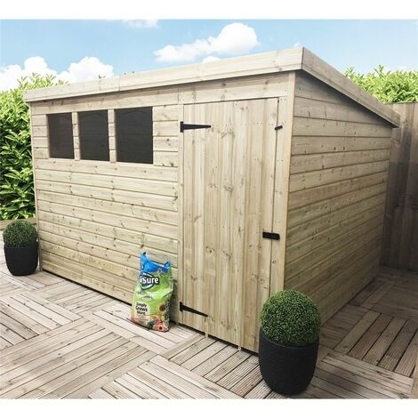 10 x 6 Pressure Treated Tongue And Groove Pent Shed With 3 Windows And Single Door + Safety Toughened Glass