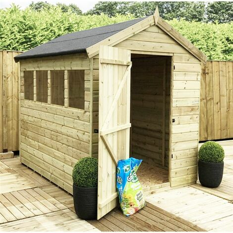 10 x 6 Premier Pressure Treated Tongue And Groove Apex Shed With Higher Eaves And Ridge Height 4 Windows + Single Door + Safety Toughened Glass