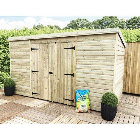 10 x 3 Pressure Treated Windowless Tongue And Groove Pent Shed + Double Doors (Centre)
