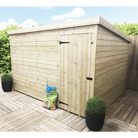 10 x 3 Windowless Pressure Treated Tongue And Groove Pent Shed With Single Door