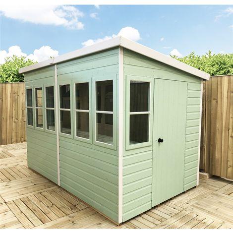 10 x 10 (3.04m x 2.99m) - Premier Pent Wooden Summerhouse - Potting Shed - 2 Opening Windows - Single Side Door - 12mm T&G Walls - Floor - Roof
