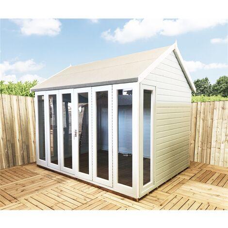 10 x 6 (2.99m x 1.79m) - Premier Reverse Wooden Summerhouse - Bifold Doors - 12mm T&G Walls - Floor - Roof