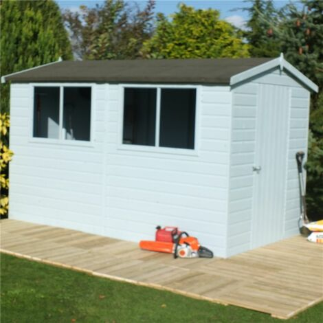 10 x 6 (2.99m x 1.79m) Tongue And Groove - Wooden Apex Workshop - 12mm Tongue And Groove Floor and Roof (CORE)