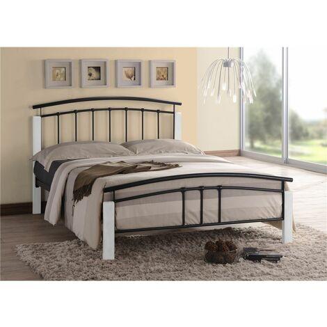 "Black Metal & White Beech Bed Frame - Double 4ft 6"""