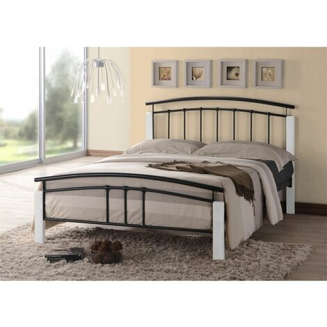 Black Metal & White Beech Bed Frame - Small Double 4ft