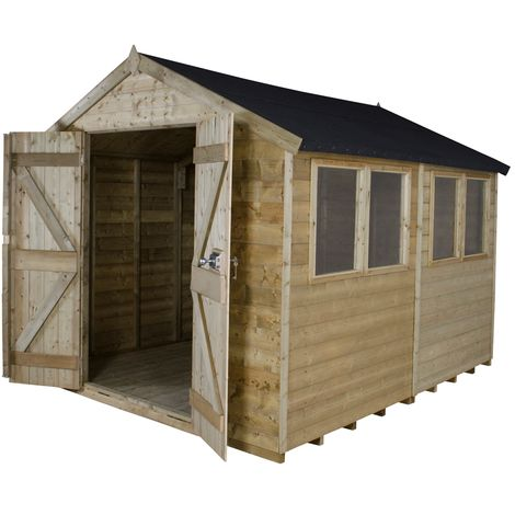 INSTALLED 10ft x 8ft Pressure Treated Tongue And Groove Apex Shed (3.1m x 2.6m) - INCLUDES INSTALLATION