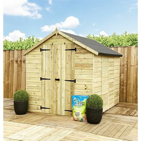 5 x 5 **Flash Reduction** Super Saver Windowless Pressure Treated Tongue & Groove Apex Shed + Double Doors + Low Eaves