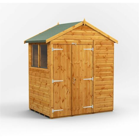 4 x 6 Premium Tongue and Groove Apex Shed - Double Doors - 2 Windows - 12mm Tongue and Groove Floor and Roof
