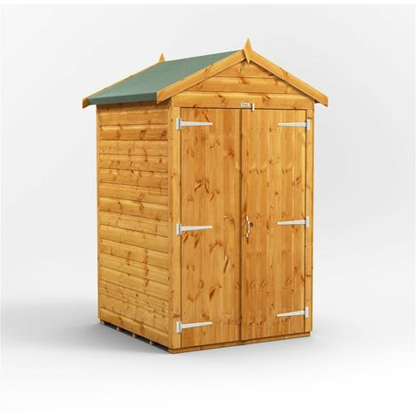 4 x 4 Premium Tongue and Groove Apex Shed - Double Doors - Windowless - 12mm Tongue and Groove Floor and Roof