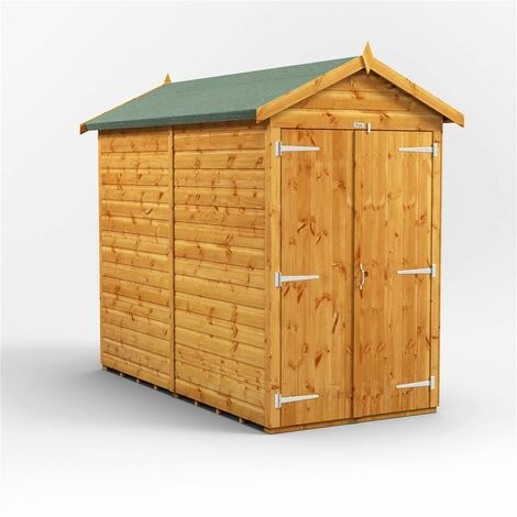 8 x 4 Premium Tongue and Groove Apex Shed - Double Doors - Windowless - 12mm Tongue and Groove Floor and Roof