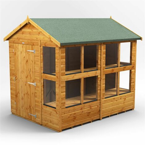8 x 6 Premium Tongue and Groove Apex Potting Shed - Single Door - 12 Windows - 12mm Tongue and Groove Floor and Roof