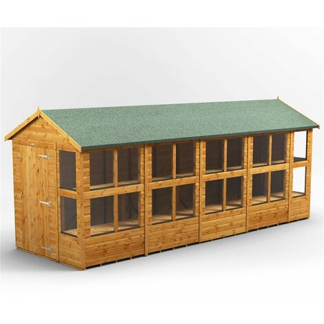 18 x 6 Premium Tongue and Groove Apex Potting Shed - Single Door - 22 Windows - 12mm Tongue and Groove Floor and Roof