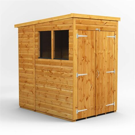 4 x 6  Premium Tongue and Groove Pent Shed - Double Doors - 2 Windows - 12mm Tongue and Groove Floor and Roof