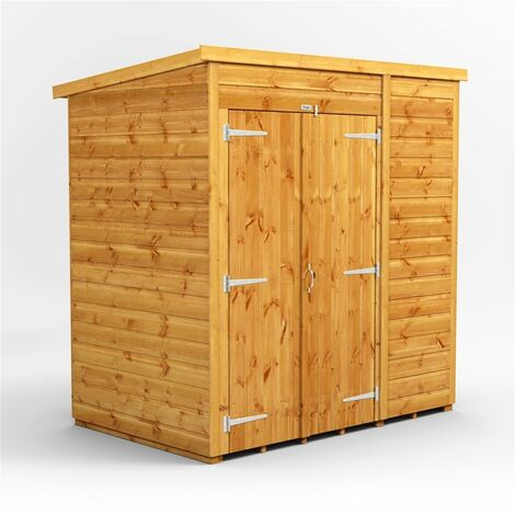 6 x 4 Premium Tongue and Groove Pent Shed - Double Doors - Windowless - 12mm Tongue and Groove Floor and Roof