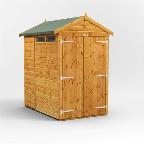 6 x 4 Security Tongue and Groove Apex Shed - Double Doors - 2 Windows - 12mm Tongue and Groove Floor and Roof