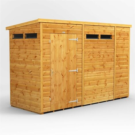 10 X 6 Security Tongue And Groove Pent Shed - Single Door - 4 Windows - 12mm Tongue And Groove Floor And Roof