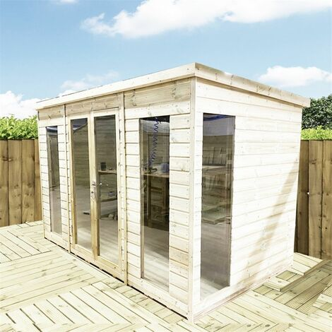 10 x 6 PENT Pressure Treated Tongue & Groove Pent Summerhouse with Higher Eaves and Ridge Height Toughened Safety Glass + Euro Lock with Key
