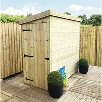 3 x 5 Windowless Pressure Treated Tongue And Groove Pent Shed (Door Panel Sloping Left To Right)