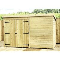 10 x 6 Windowless Pressure Treated Tongue And Groove Pent Shed With Double Doors