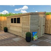10 x 6 Reverse Pressure Treated Tongue And Groove Pent Shed With 3 Windows And Single Side Door + Safety Toughened Glass