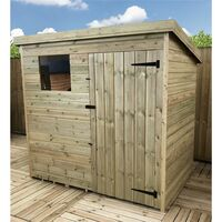 5 x 3 Pressure Treated Tongue And Groove Pent Shed With 1 Window + Single Door + Safety Toughened Glass