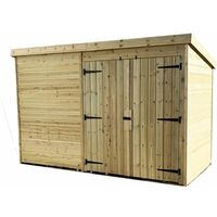 10 x 3 Windowless Pressure Treated Tongue And Groove Pent Shed With Double Doors