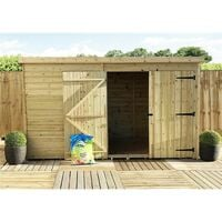 10 x 5 Windowless Pressure Treated Tongue And Groove Pent Shed With Double Doors