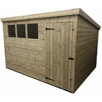 10 x 4 Pressure Treated Tongue And Groove Pent Shed With 3 Windows + Single Door + Safety Toughened Glass