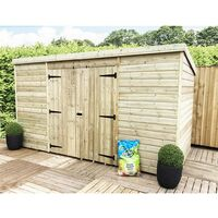 10 x 7 Windowless Pressure Treated Tongue And Groove Pent Shed With Double Doors (Centre)