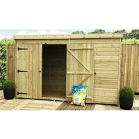 10 x 3 Pressure Treated Tongue And Groove Pent Shed With 1 Window + Double Doors + Safety Toughened Glass