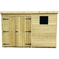 10 x 4 Pressure Treated Tongue And Groove Pent Shed With 1 Window + Double Doors + Safety Toughened Glass